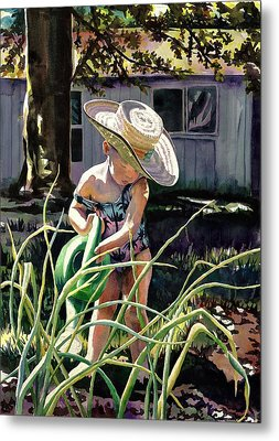 Watering The Onions Metal Print by Maureen Dean