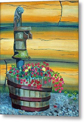 Waterpump And Petunias Metal Print by Amy Reisland-Speer