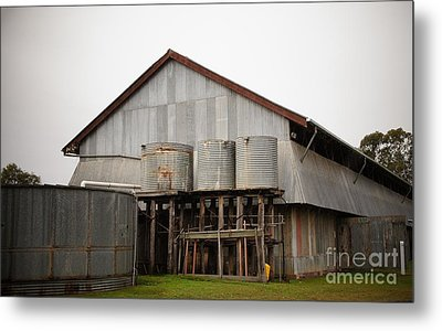 Watertanks And Shed Metal Print by Therese Alcorn