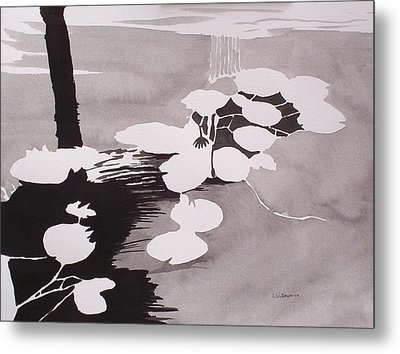 Metal Print featuring the painting Watrer Lillies by Richard Willows