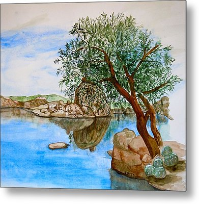 Watson Lake Prescott Arizona Peaceful Waters Metal Print by Sharon Mick