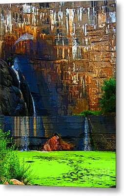 Watson Lake Waterfall Metal Print by Julie Lueders