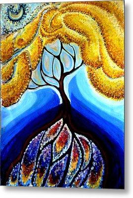 Wattle Or Acacia Tree And Deep Rainbow Pool Metal Print by Helen Duley