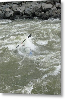 Wave Surfing Kayaker Goes Underwater Metal Print by Skip Brown