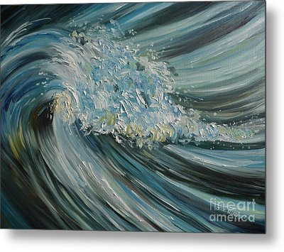 Metal Print featuring the painting Wave Whirl by Julie Brugh Riffey