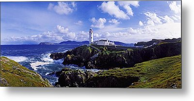 Waves Breaking On The Coast With A Metal Print by The Irish Image Collection