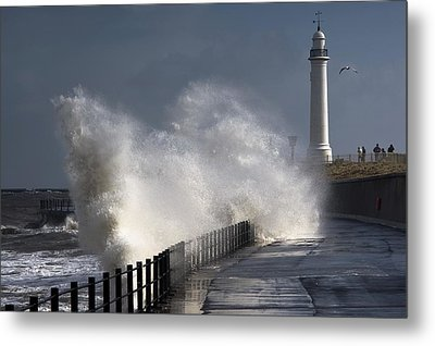 Waves Crashing By Lighthouse At Metal Print by John Short