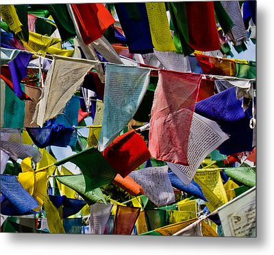 Metal Print featuring the photograph Waving Prayer Flags by Don Schwartz