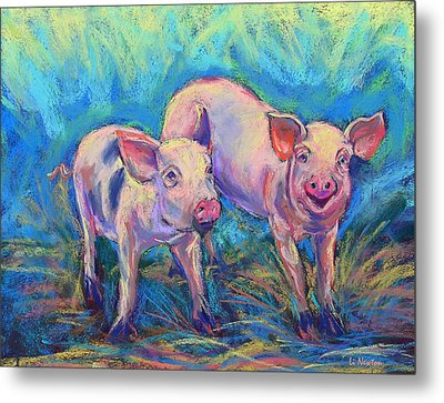 Metal Print featuring the photograph We Won't Be Bacon by Li Newton