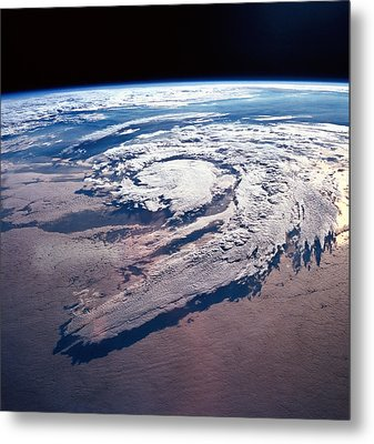 Weather Systems Above Earth Metal Print by Stockbyte