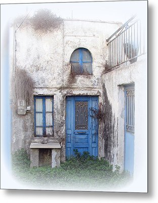 Weathered Greek Building Metal Print by Carla Parris