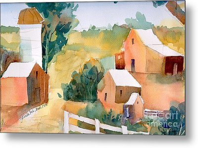 Metal Print featuring the painting Webster Barn by Yolanda Koh