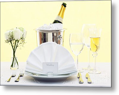 Wedding Table Place Setting  Metal Print by Richard Thomas