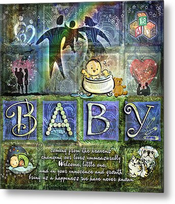 Welcome Baby Boy Metal Print by Evie Cook