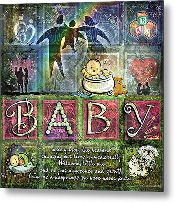 Welcome Baby Girl Metal Print by Evie Cook