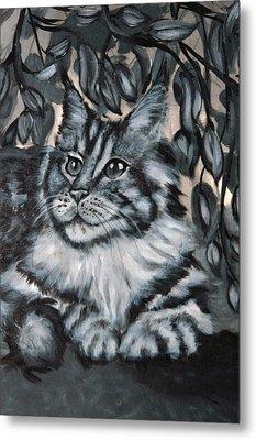 Well Fed Cat Metal Print by Elena Melnikova