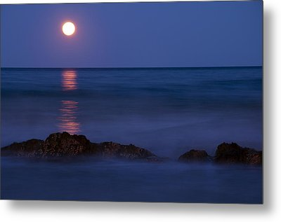 Wells Beach Maine Moonrise Metal Print