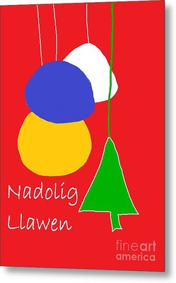 Metal Print featuring the digital art Welsh Christmas Card by Barbara Moignard