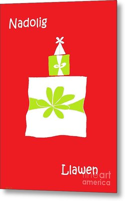 Welsh Merry Christmas Red Metal Print by Barbara Moignard