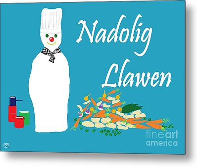 Welsh Snowman Chef Metal Print by Barbara Moignard