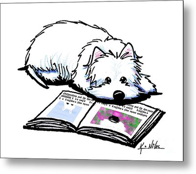 Wendell Loves Books Metal Print by Kim Niles