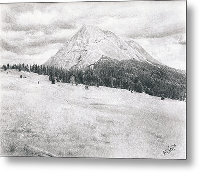 Metal Print featuring the drawing West Spanish Peak by Joshua Martin