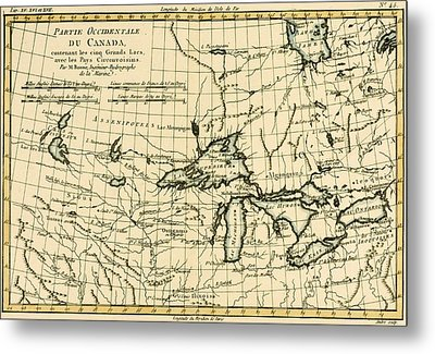 Western Canada And The Five Great Lakes Metal Print by Guillaume Raynal
