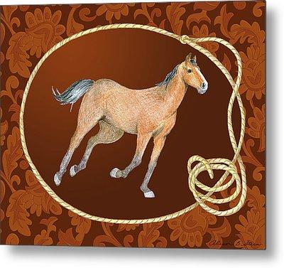 Western Roundup Running Horse Metal Print