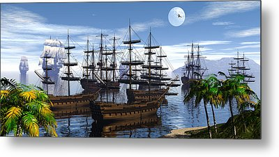 Metal Print featuring the digital art Whaling Off Lahaina 2 by Claude McCoy