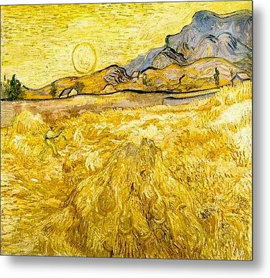 Wheat Field With Reaper And Sun Metal Print