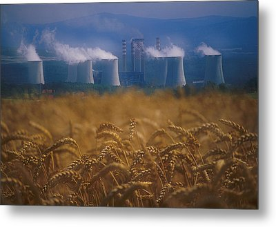 Wheat Fields And Coal Burning Power Metal Print by David Nunuk