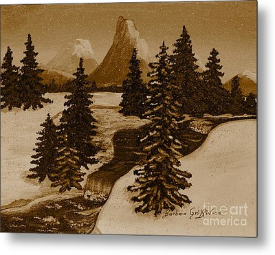 When It Snowed In The Mountains Metal Print by Barbara Griffin