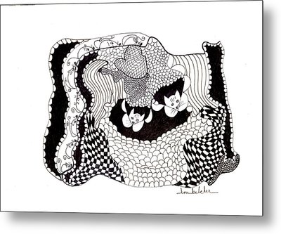 Metal Print featuring the drawing Where'd They Go? by Lou Belcher