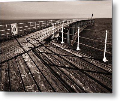 Whitby Pier  Metal Print by Stephen  Wakefield