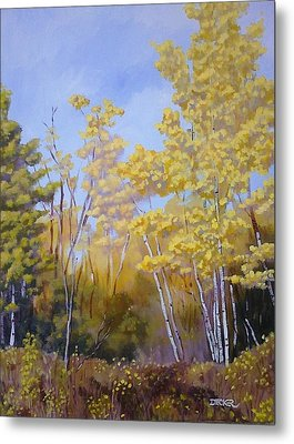 Metal Print featuring the painting White Bark Yellow Leaves by Robert Decker