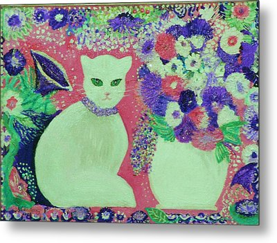 White Cat With Flowers All Around Metal Print by Anne-Elizabeth Whiteway