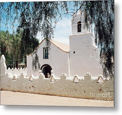 White Church In Chile Metal Print by Trude Janssen