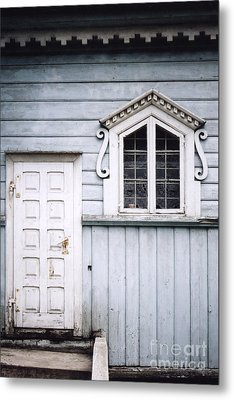 White Doors And Window On Bluish Wooden Wall Metal Print by Agnieszka Kubica