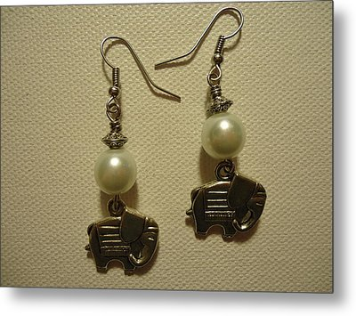 White Elephant Earrings Metal Print