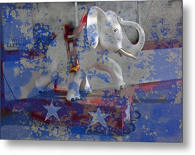 White Elephant Ride Abstract Metal Print by Garry Gay