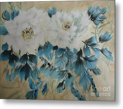Metal Print featuring the painting White Flower by Dongling Sun
