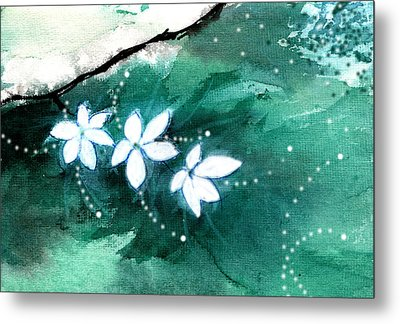 White Flowers Metal Print by Anil Nene
