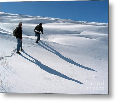 White Hiking Metal Print