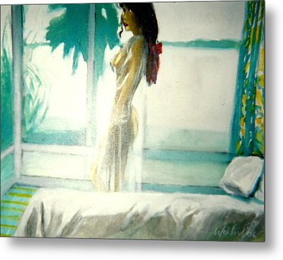 White Negligee Palm Tree Metal Print by Harry WEISBURD