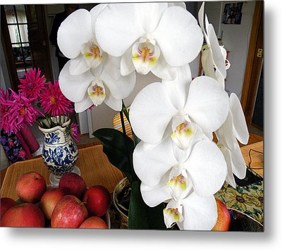 Metal Print featuring the digital art White Orchid by Vicky Tarcau