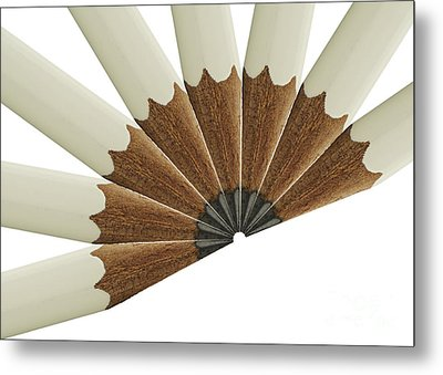 White Pencil Fan Metal Print by Blink Images
