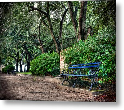 White Point Gardens Bench Metal Print by Jenny Ellen Photography