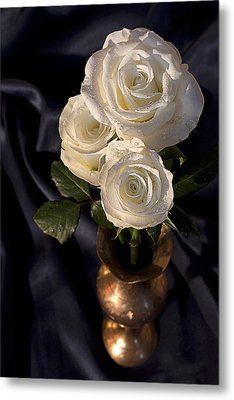 Metal Print featuring the photograph White Roses by Shirley Mitchell