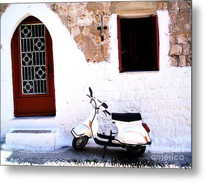 White Scooter Dreams Horizontal Metal Print by Anthony Novembre