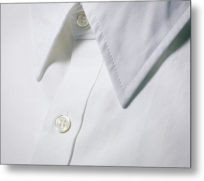 White Shirt Collar Detail. Metal Print by Ballyscanlon